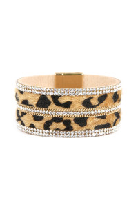 SA4-3-2-ASB7114NT NATURAL FAUX LEATHER ANIMAL SKIN EMBELLISHED WITH RHINESTONE AND CHAIN MAGNETIC LOCK BRACELET/6PCS
