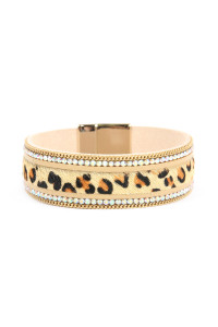 SA4-1-2-ASB7123NT NATURAL FAUX LEATHER LEOPARD SKIN WITH CHAIN AND RHINESTONE MAGNETIC LOCK LEATHER BRACELET/6PCS