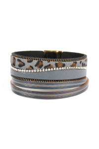 SA4-3-4-ASB7144GY GRAY WAVE FAUX ANIMAL SKIN LEATHER WITH RHINESTONE AND CHAIN MAGNETIC LOCK BRACELET/6PCS