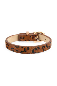 SA4-1-2-ASB7146BR BROWN FAUX ANIMAL SKIN LEATHER BUCKLE TYPE BRACELET/6PCS
