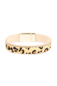 S4-5-2-ASB7147NT NATURAL ANIMAL SKIN MAGNETIC LOCK BRACELET/6PCS