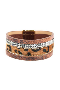 S4-6-2-ASB7159BR BROWN ANIMAL SKIN LEATHER WITH CUSHION CUT BEADS BRACELET/6PCS