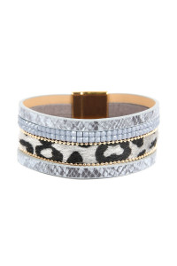 S4-6-2-ASB7159GY GRAY ANIMAL SKIN LEATHER WITH CUSHION CUT BEADS BRACELET/6PCS