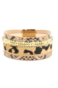 S4-6-2-ASB7159NT NATURAL ANIMAL SKIN LEATHER WITH CUSHION CUT BEADS BRACELET/6PCS