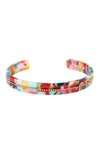 SA4-3-3-ASB7167MT MULTICOLOR BEADS EMBELLISHED ACETATE CUFF BRACELET/6PCS