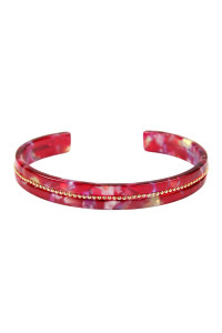 SA4-3-4-ASB7167RD RED BEADS EMBELLISHED ACETATE CUFF BRACELET/6PCS