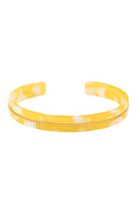 SA4-3-4-ASB7167YL YELLOW BEADS EMBELLISHED ACETATE CUFF BRACELET/6PCS