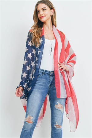 S19-10-2-SC222X002AM - USA FLAG ACCENT KIMONO WRAP/6PCS