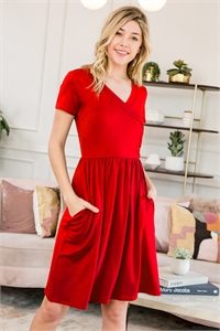 S29-9-1-SD1641-RD-1 - SHORT SLEEVE SOLID WRAP POCKET DRESS- RED 3
