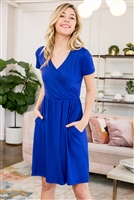 S29-9-1-SD1641-RYL-1 - SHORT SLEEVE SOLID WRAP POCKET DRESS- ROYAL 1-3-3