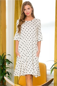 S29-9-1-SD1648PD-IV-2 - BELL SLEEVE POLKA DOT SWING POCKET DRESS- IVORY 4