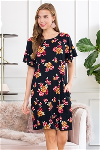 S16-10-3-SD1663-F31-BK-2 - BELL SLEEVE FLORAL POCKET DRESS- BLACK 3-1