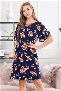 S14-7-3-SD1663-F31-NV-2 - BELL SLEEVE FLORAL POCKET DRESS- NAVY 3-2