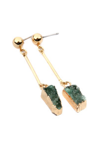 S7-5-3-ASE6014GDGR GREEN DRUZY STONE DANGLE EARRINGS/6PAIRS