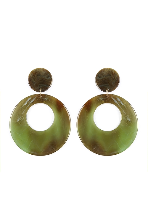 A1-1-2-ASE6016GDTQ BROWNISH GREEN COLORFUL SMOKED DESIGN DANGLE EARRINGS/6PAIRS