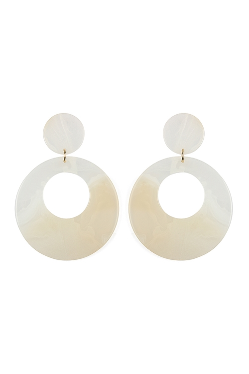 A1-1-2-ASE6016GDWT WHITE COLORFUL SMOKED DESIGN DANGLE EARRINGS/6PAIRS