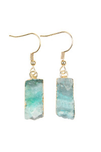 S6-5-2-ASE6113GR GREEN COLORED DRUZY STONE BLOCK HOOK EARRINGS/6PAIRS