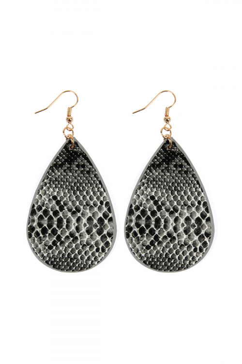 A1-2-4-ASE6141BK BLACK SNAKE SKIN TEARDROP LEATHER EARRINGS/6PAIRS