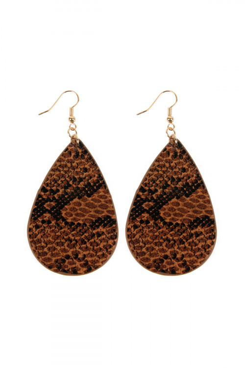A1-2-4-ASE6141BR BROWN SNAKE SKIN TEARDROP LEATHER EARRINGS/6PAIRS