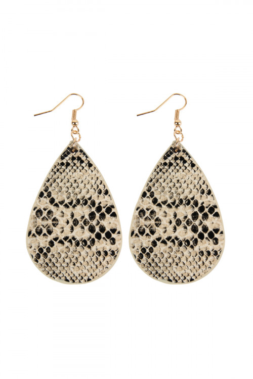 A1-1-3-ASE6141NT NATURAL SNAKE SKIN TEARDROP LEATHER EARRINGS/6PAIRS