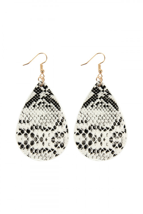 A1-2-4-ASE6141WT WHITE SNAKE SKIN TEARDROP LEATHER EARRINGS/6PAIRS