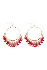 S5-6-1-ASE6286RD RED DANGLING ACRYLIC IN HOOP DROP EARRINGS/6PAIRS