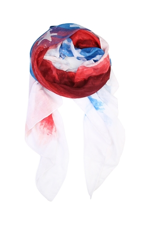 S7-6-5-ASF394 RED BLUE WATER COLOR AMERICAN FLAG SCARF/6PCS