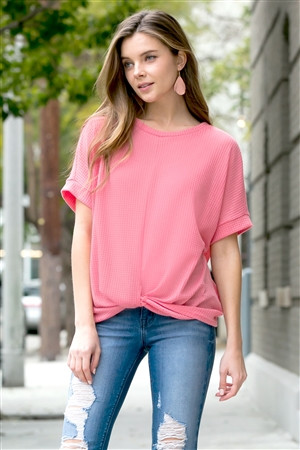 S9-19-3-SMT-1107-CRL-1 - TWIST FRONT DOLMAN SLEEVE TOP- CORAL 2-5-0-0