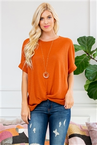 S14-8-1-SMT-1107-RST-1 - TWIST FRONT DOLMAN SLEEVE TOP- RUST 1-1-3-0