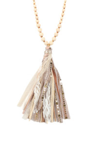 SA4-2-1-ASN8263NT NATURAL FABRIC TASSEL PENDANT BEADED NECKLACE/6PCS