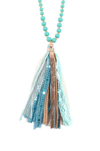 SA4-2-1-ASN8263TQ TURQUOISE FABRIC TASSEL PENDANT BEADED NECKLACE/6PCS