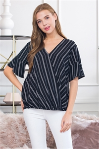 S16-9-3-ST2705-BK-1 - SHORT SLEEVED STRIPED POCKET DRESS- BLACK 4-0-1-2