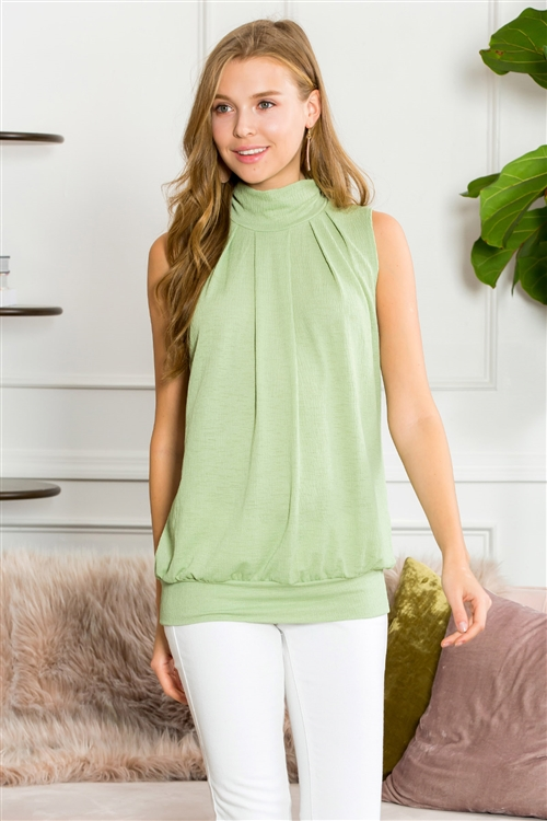 S10-16-3-ST2707-1-SG-1 - SOLID MOCK NECK SLEEVELESS PLEATED TOP- SAGE 5-0-2-0
