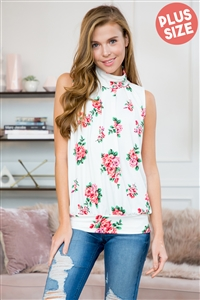 SH-2-ST2707-F15-IV-1 - FLORAL PRINT MOCK NECK SLEEVELESS PLEATED TOP- IVORY 3-3
