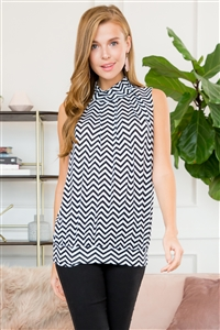 S16-9-1-ST2707CHEVRON-BKWT-1 - CHEVRON MOCK NECK SLEVELESS PLEATED TOP- BLACK/WHITE 5-0-0-0