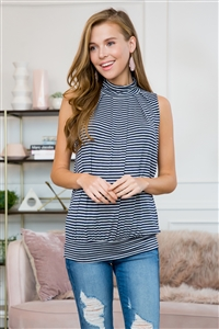 S16-9-1-ST2707STRIPES-NVHG-2 - MOCK NECK STRIPED SLEEVELESS TOP- NAVY/HEATHER GREY 4-0-0-0