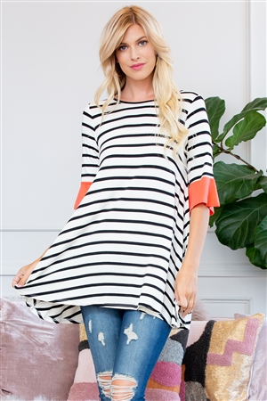 S10-15-3-T2708-CRL-2 - STRIPE SPANDEX RUFFLE SLEEVE TUNIC- CORAL 4-2-1-0