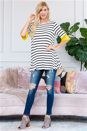 S10-20-3-T2708-YLW-1 - STRIPE SPANDEX RUFFLE SLEEVE TUNIC- YELLOW 2-2-2-0