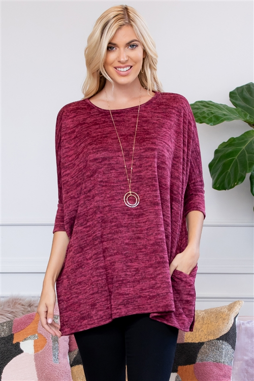 S11-8-4-T6418-RSW004-BU - HACCI POCKET TUNIC- BURGUNDY 1-2-2-2