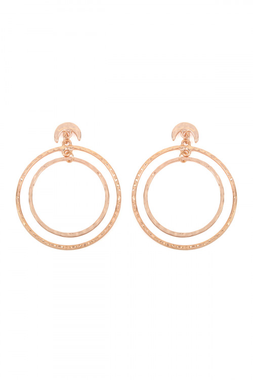 A1-2-4-ATE0184RG ROSE GOLD DOUBLE HAMMERED DANGLING HOOP WITH CRESCENT POST EARRINGS/6PAIRS