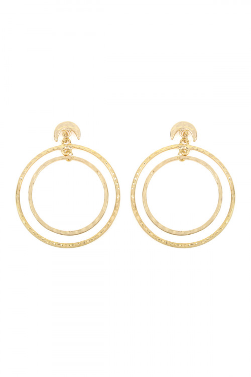 A1-2-4-ATE0184WG GOLD DOUBLE HAMMERED DANGLING HOOP WITH CRESCENT POST EARRINGS/6PAIRS