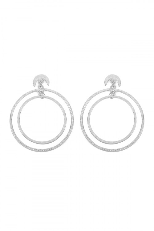 A1-2-4-ATE0184WS SILVER DOUBLE HAMMERED DANGLING HOOP WITH CRESCENT POST EARRINGS/6PAIRS