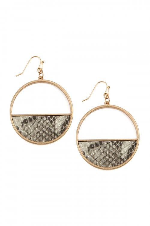 A2-3-4-ATE9048GD GOLD HALF LEATHER HOOP DROP SNAKE SKIN EARRINGS/6PAIRS