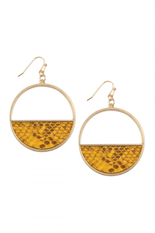 A1-1-4-ATE9048YL YELLOW HALF LEATHER HOOP DROP SNAKE SKIN EARRINGS/6PAIRS