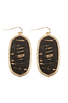 S24-7-5-TE9151BK - OVAL CORK FISH HOOK DROP EARRINGS - BLACK/6PCS