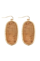 S24-7-5-TE9151BR - OVAL CORK FISH HOOK DROP EARRINGS - BROWN/6PCS