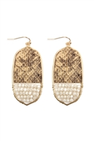 S22-10-4-TE9170WGBE - OVAL SNAKE SKIN WITH BEADS DROP EARRINGS - BEIGE/6PCS