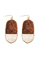 S22-10-4-TE9170WGBR - OVAL SNAKE SKIN WITH BEADS DROP EARRINGS - BROWN/6PCS