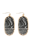 S22-10-4-TE9170WGBW - OVAL SNAKE SKIN WITH BEADS DROP EARRINGS - BLACK WHITE/6PCS