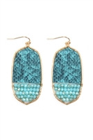 S22-10-4-TE9170WGTQ - OVAL SNAKE SKIN WITH BEADS DROP EARRINGS - TURQUOISE/6PCS